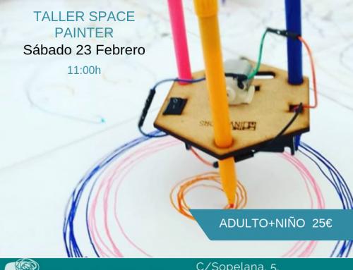 Taller de Space Painter en el Cole de Celia y Pepe.
